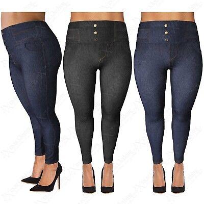Clever New Plus Size Ladies High Waisted Button Leggings Women Jeggings Denim Jean Look Um Eine Hohe Bewunderung Zu Gewinnen Und Wird Im In- Und Ausland Weithin Vertraut.