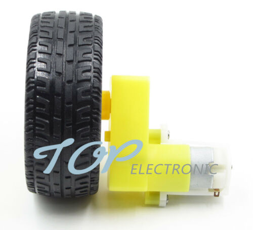 smart Car Robot Plastic Tire Wheel 4PCS DC 3-6v Right-angle Gear Motor