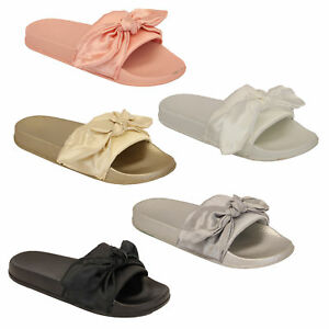 Ladies Slip On Slippers Bow Sliders Women Comfy Rubber Mules Sandals Summer New