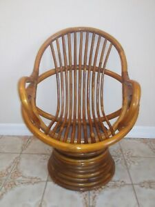 Outstanding Details About Vintage Rattan Swivel Child Chair Caraccident5 Cool Chair Designs And Ideas Caraccident5Info