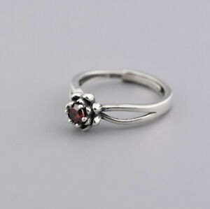 F05-Ring-Silver-925-Small-Flower-with-Red-Zirconia-Crystal-Adjustable-Size