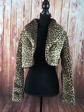 Vintage Womens Authentic Faux Fur Animal Print Coat Jacket Leopard Print Medium