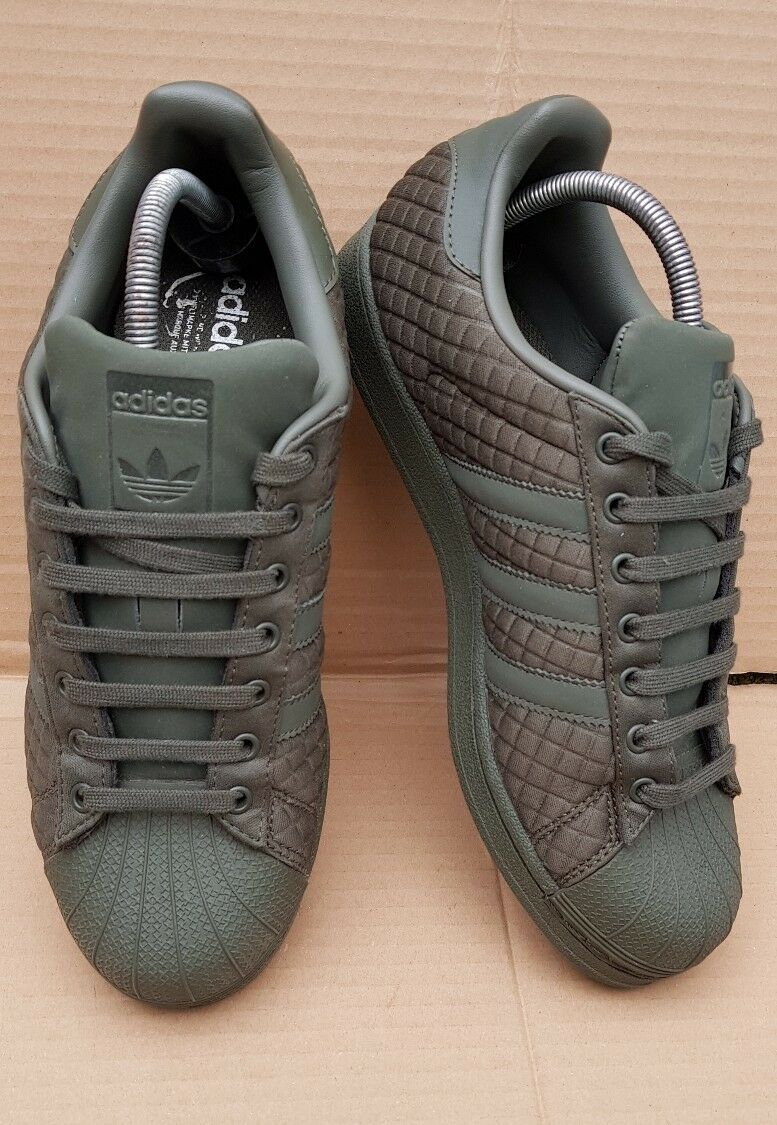 ADIDAS KHAKI SUPERSTAR SHELL TOE TRAINERS KHAKI ADIDAS QUILTED Taille 6EXCELLENT CONDITION 085264