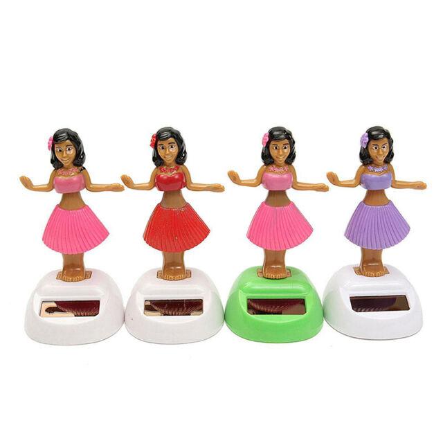4x Solar Powered Dancing Hula Girl Swinging Bobble Toy Gift For Car Decorat L4K7