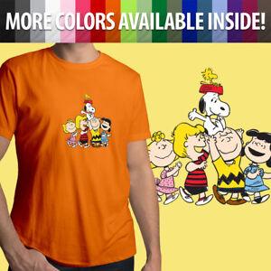 Peanuts-Friends-Charlie-Brown-Snoopy-Woodstock-Lucy-Unisex-Mens-Tee-Crew-T-Shirt
