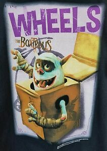 THE-BOXTROLLS-RARE-PROMOTIONAL-AMC-2014-Movie-Wheels-Box-Trolls-T-Shirt-Size-XL