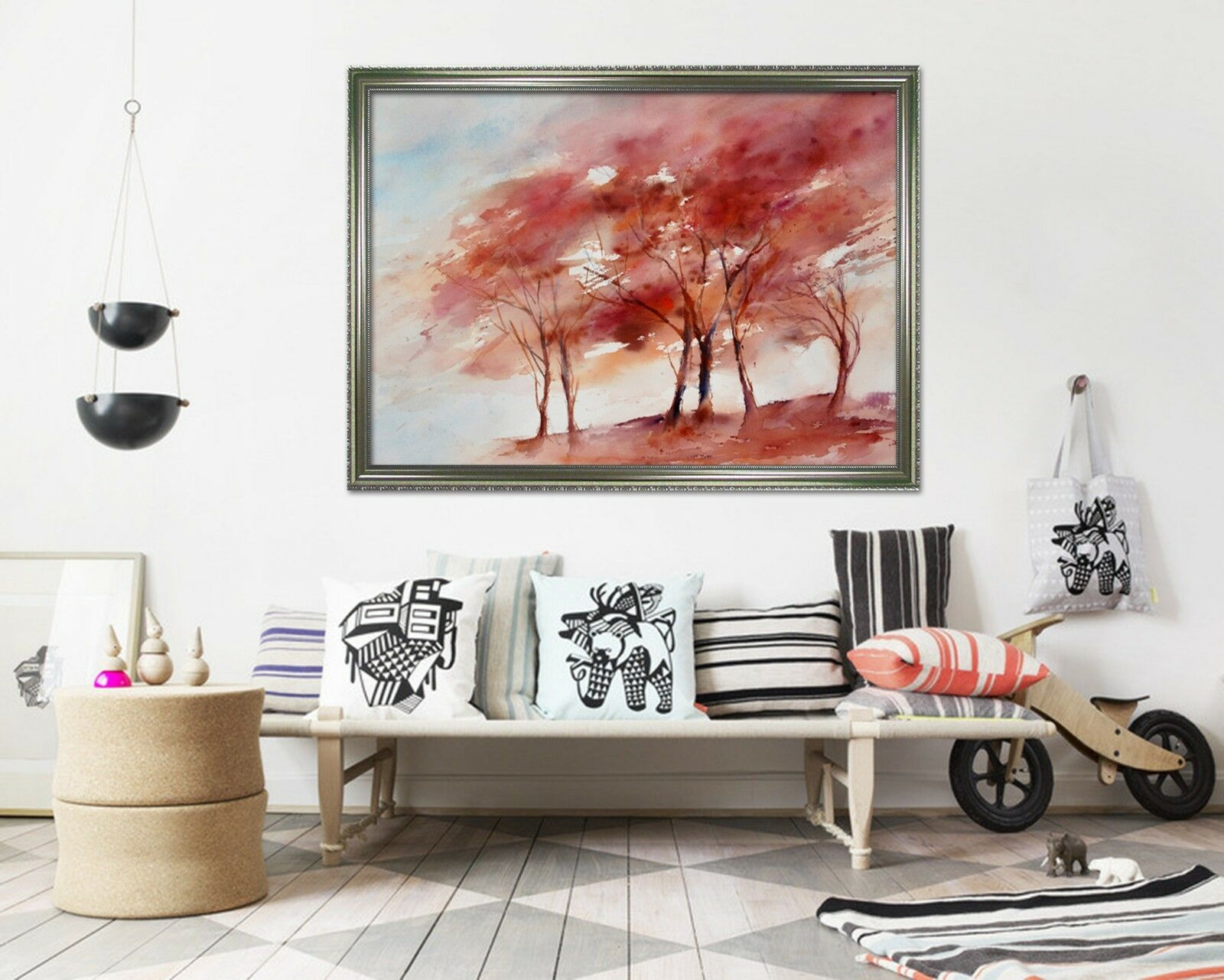 3D Watercolor Red Trees 1 Framed Poster Home Decor Print Painting Art WALLPAPER