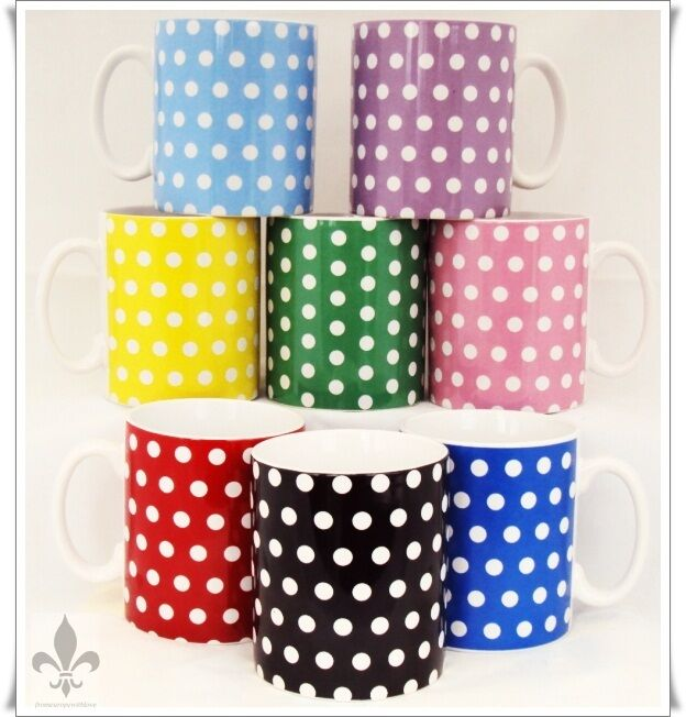Multi Colour Dots Mugs Set 8 Porcelain Ceramic Mix colors Cups Hand Decorated UK
