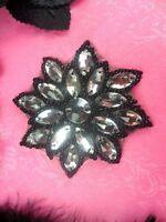 N19 Black Beaded Crystal Clear Glass Rhinestone Jewel Snowflake Applique 3
