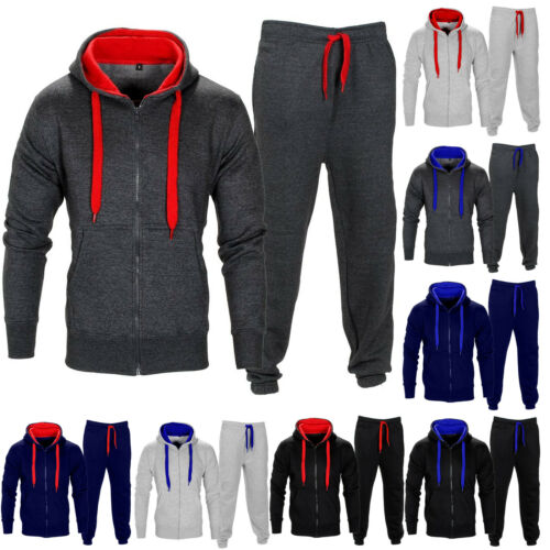 Mens Contrast Tracksuit Hoodie Jogging Fleece Long Sleeves Trouser Bottoms Pants