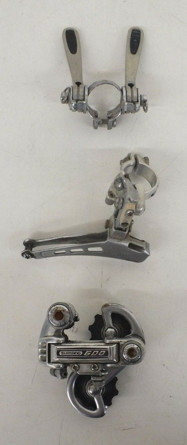 Vintage 1980s Shimano 600 Front  Rear Derailleurs & Shift Levers Fast Shipping  unique shape