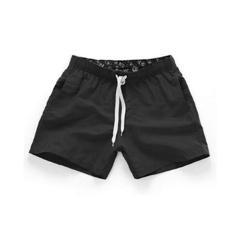 Summer New Mens Casual Mid Waist Beach Shorts Solid Straight Drawstring Shorts