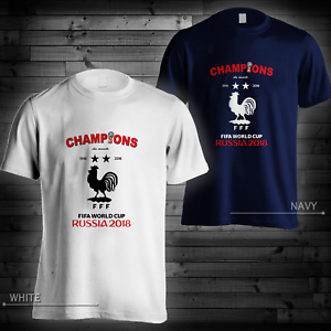 Details About Champions Du Monde France 2018 White Navy T Shirt World Cup Russia Short Tee