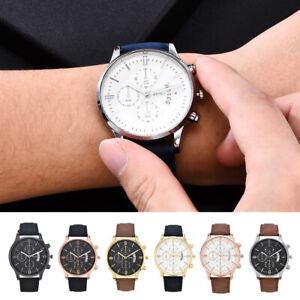 Fashion-Sports-Men-039-s-Stainless-Steel-Case-Leather-Band-Quartz-Analog-Wrist-Watch