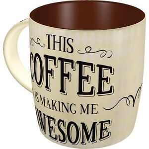 Details about Retro Sturdy Ceramic Mug 'This COFFEE is making me AWESOME  1950's Vintage Design