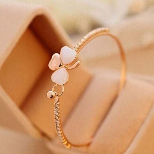 Generou Charm Women Flower Crystal Gold Plated Cuff Bracelet Bangle Jewelry Gift