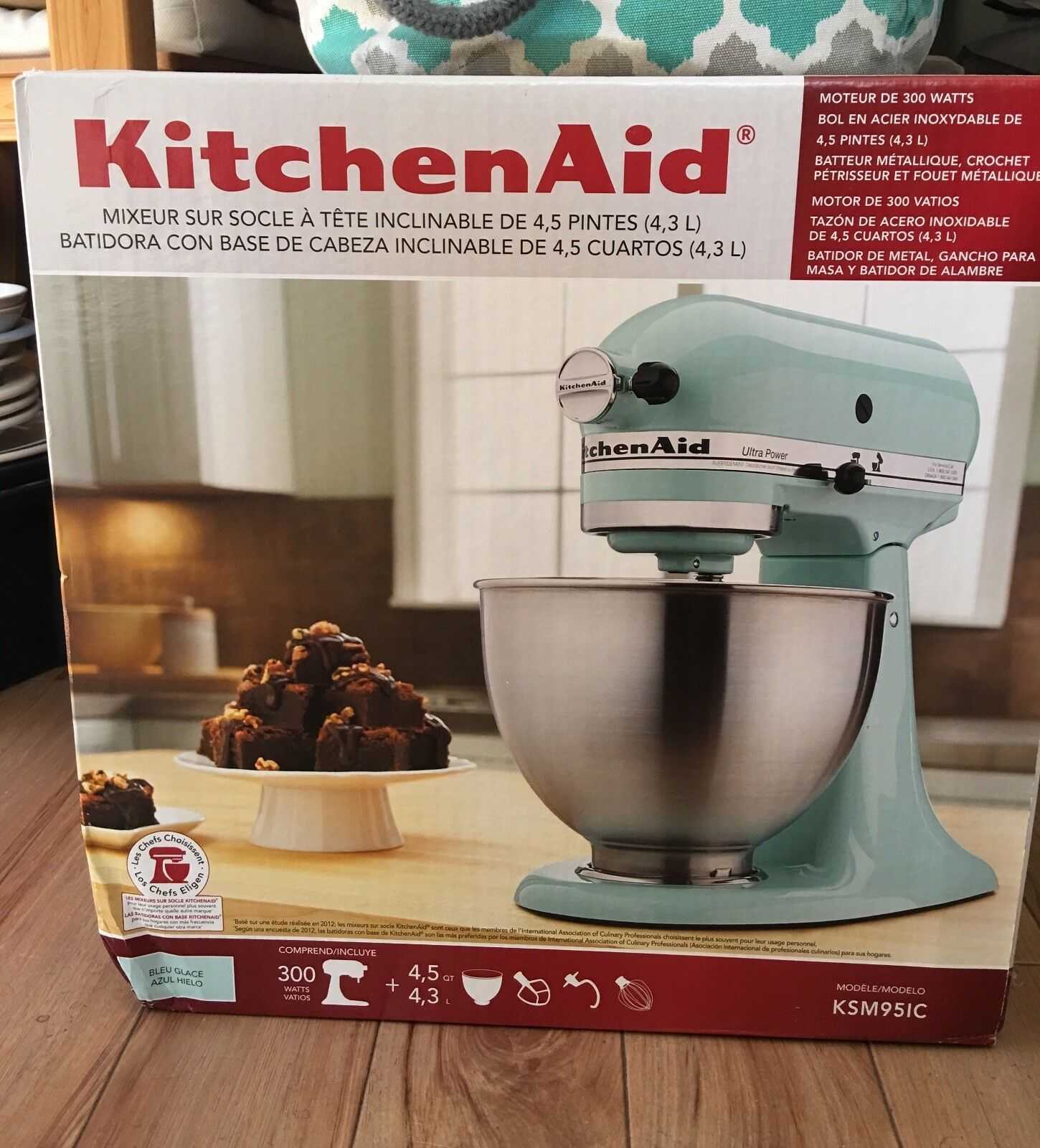 New KitchenAid 4.5 QT Tilt-head Stand Mixer Ice bluee, bluee Glaze 300 Watts