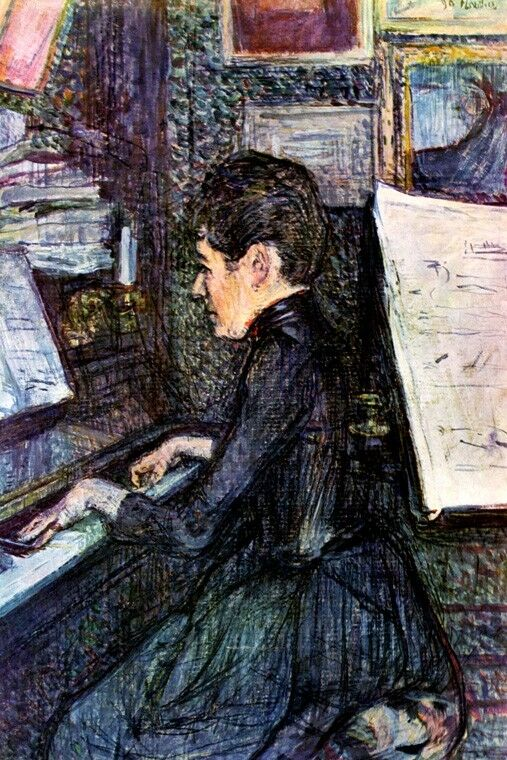 MADEMOISELLE DIHAU PLAYING THE PIANO MUSIC PARIS 1890 PAINTING BY LAUTREC REPRO