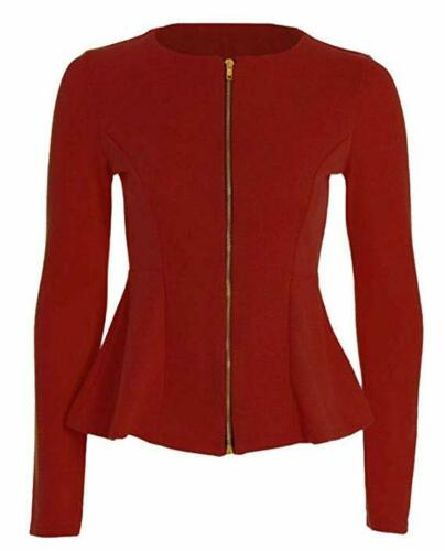 Femmes Zip Peplum volants Tailored Blazer Jacket UK taille UK 8-26