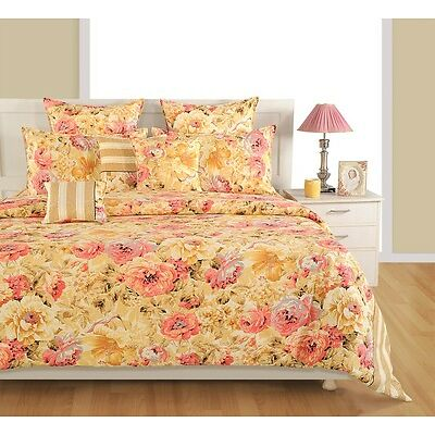 Swayam Cream and Pink Colour Floral Print Double Bed Sheet with Pillow Covers