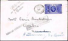 1935 Jubilee 2 1/2d Kettering Sweden returned unknown inconnu okland label