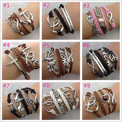 FREE Adjustable Handmade leather Suede Wrap Tibetan silver Bracelet many styles