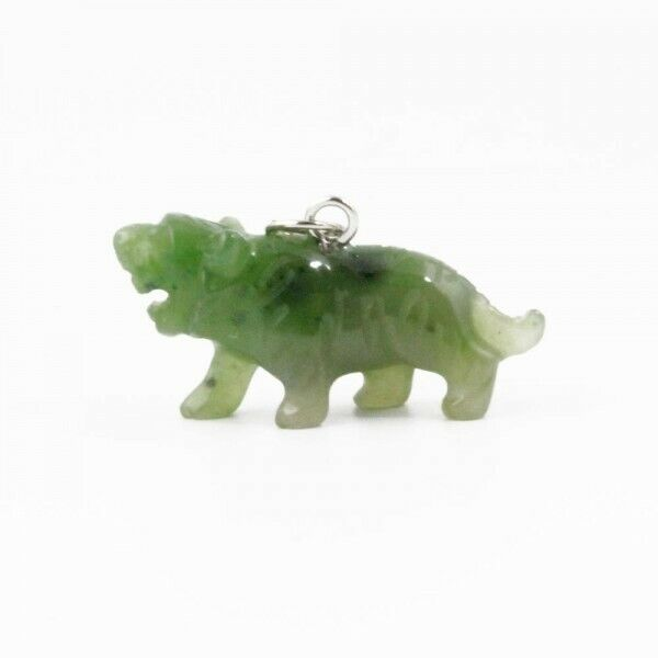 Carved Genuine Natural Green Nephrite Jade Tiger Charm