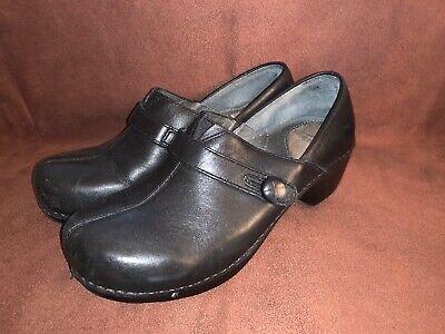 Dansko Solstice Black Leather Clogs
