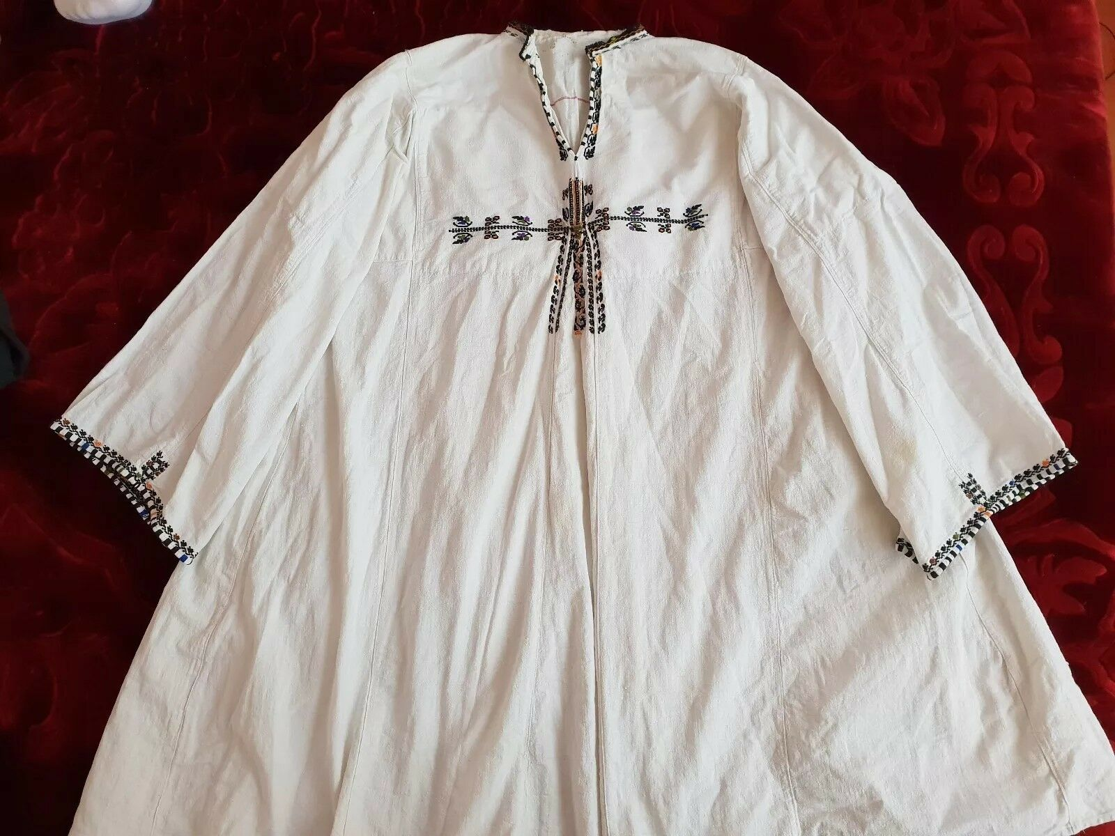 MENS Vintage hand embroidered Romanian blouse