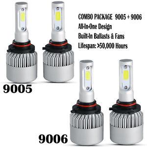 9005 9006 4PCS Combo Total 2600W 390000LM LED Headlight Kit High Low Beam 6000K