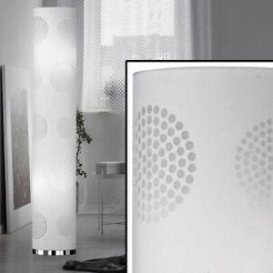 Steh Stand Boden Decken Fluter Lampe Metall Weiß Gold Textil Leuchte Ess Zimmer