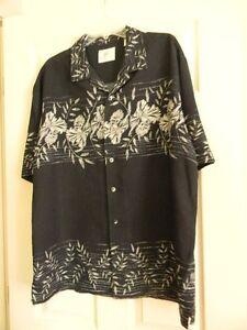 PARADISE By Axis Shirt Mens XLarge Full Button Down Shirt Vintage Floral Mens Black Colour Shirt Size XL