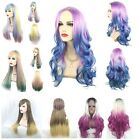 Women's Lolita Long Straight Full Wig Hair Rainbow Multi-color Cosplay Party New