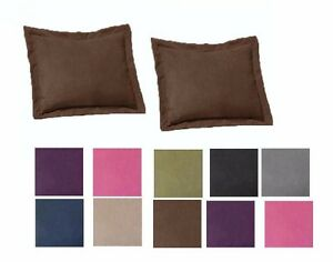 2-Piece-Shams-Solid-Cover-Case-Micro-Suede-Decorative-Pillow-Brown-Black