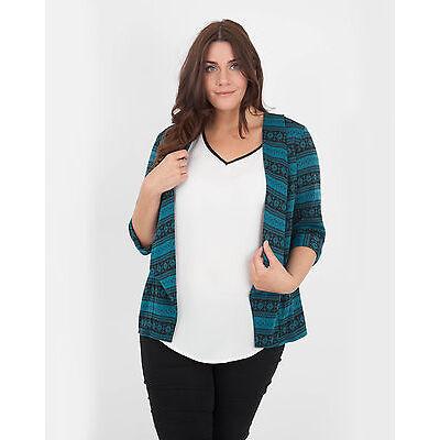 Womens Ladies Plus Size Fairisle Print Jacket Blazer Green Teal Top