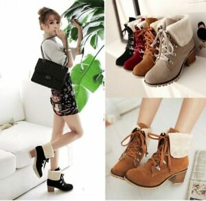 44a838c7cea4 Women s Wide Width Ankle Boots Mid Heel Foldover Buckle lace up Warm ...