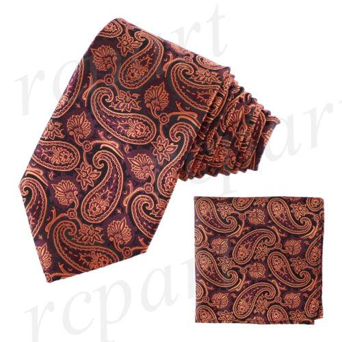 New Men/'s Brand Q Microfiber Neck Tie Necktie /& Hankie Set Paisley Orange Black