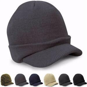 5 Colors Beanie Hat Men Billed Knit Cap w cuff Double Layered Visor ... dc622806e9c