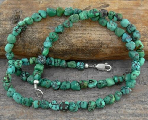 Turquoise Necklace - Small Natural Satin-finished Nuggets, Men - Women, SS Clasp