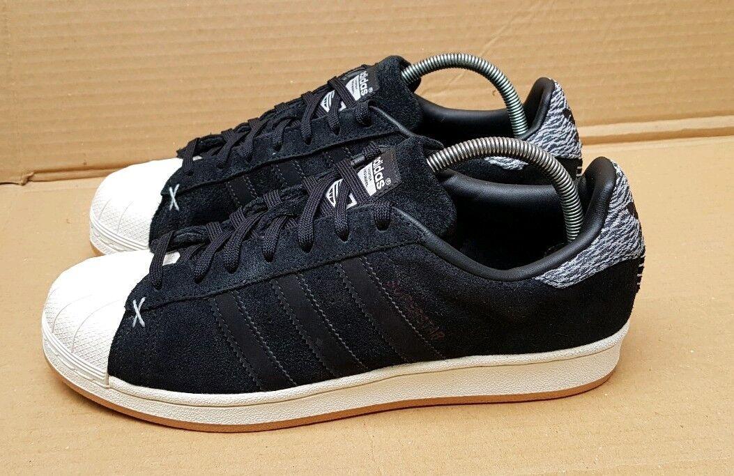 Adidas Superstar Zapatillas Core Negro Invierno Reino Unido excelentes condiciones raras