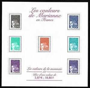Bloc-Feuillet-2001-N-41-Timbres-France-Neufs-Les-Couleurs-de-Marianne-en-Francs