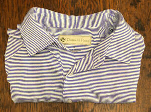 Donald-Ross-XL-Golf-Shirt-Blue-White-Stripes
