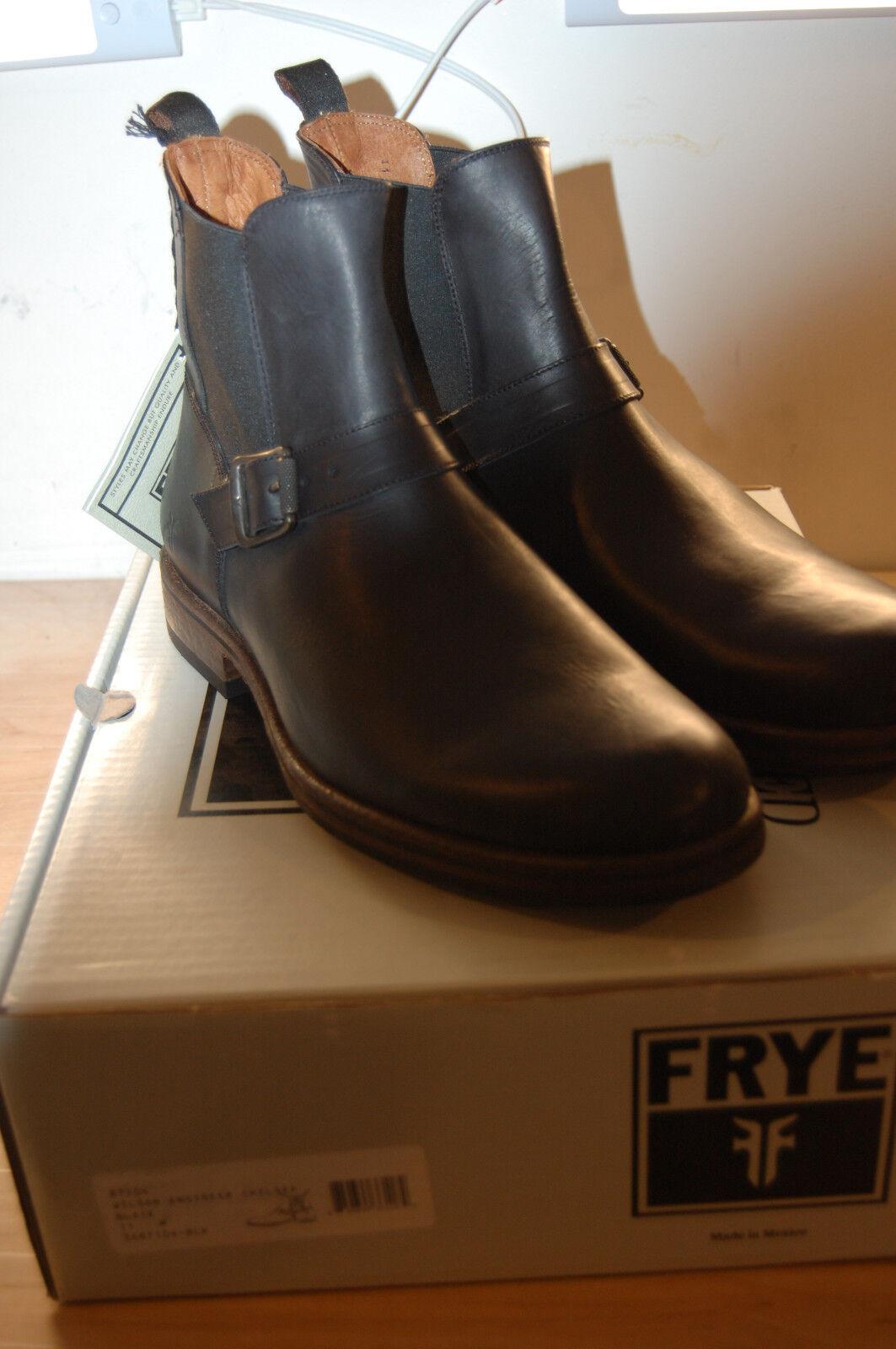 Frye botas para hombre ingeniero de Chelsea Wilson cuero de grano completo Nueva En Caja  11 M Negro