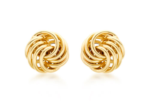 9ct Yellow Gold 10mm Knot Stud Earrings Solid Gold Gift Box Jewellery