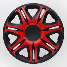 4 x Radkappen Radzierblenden 15 Zoll Rot Schwarz Nascar