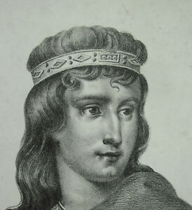 Antique-Print-Dagobert-II-Son-of-the-King-Franc-Sigebert-II-Kingdom-of-Austrasia