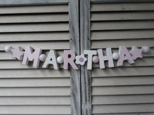 "/""MARTHA/"" Nom Chaîne Enfants Chambre Rosa holzbuchstaben Baptême Bébé Nom shabbychic"