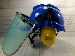 Elmetto di protezione con visiera cuffie omologato casco da lavoro giardinaggio