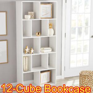 12 Shelf Bookcase White Storage Home