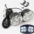 2X 12V White 4-LED Round Car Daytime Running Light DRL Driving Fog Day Lamp